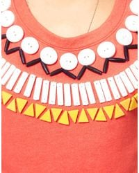 ASOS Collection | Red Asos Sweatshirt With Rocco Beads | Lyst
