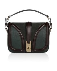 Burberry | Green Texturedleather and Suede Shoulder Bag | Lyst