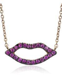 Diane Kordas | Purple Open Lips Sapphire Necklace | Lyst