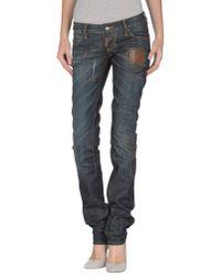 DSquared² Blue Super Slim Lace Cotton Denim Jeans