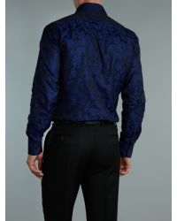 Duchamp Blue Long Sleeve Paisley Jacquard Shirt for men