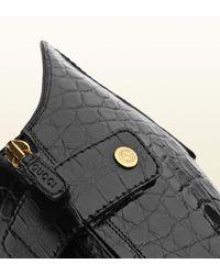 Gucci Black Elizabeth High Heel Crocodile Riding Boot