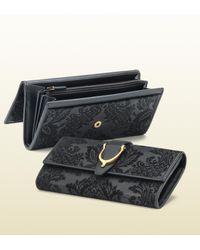 Gucci Black Stirrup Brocade Leather Continental Wallet
