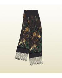 Gucci Black Vanily Iris Print Silk Scarf