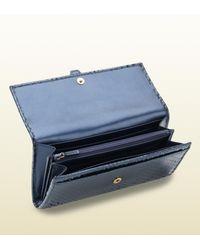Gucci Stirrup Dark Blue Python Continental Wallet