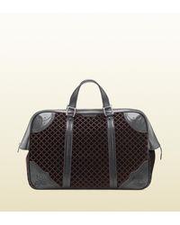 Gucci Black Goldmark Velvet Diamante Carryon Duffle Bag for men