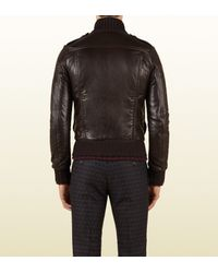 Gucci Brown Leather Biker Jacket with Shearling Collar for men
