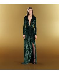 Gucci Velvet Deep Vneck Gown In Green Lyst