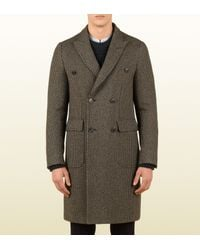 Gucci Brown Double-Breasted Overcoat for men