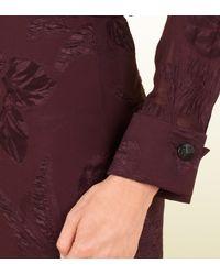 Gucci Purple Sheer Silk Dress with Deep Back Vneck