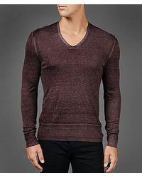 John Varvatos Purple Silk Cashmere Reverse Print Vneck for men