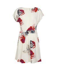 Juicy Couture White Silk Poppy Print Dress