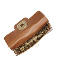 Longchamp Brown Gatsby Python Clutch