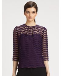 MILLY - Gray Chantilly Lace Caterina Top - Lyst