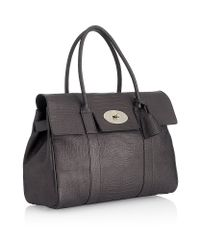 Mulberry Black Mini Croc Print Bayswater Bag