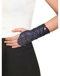 Nina Peter - Blue Jane Perch Skin And Leather Gloves - Lyst