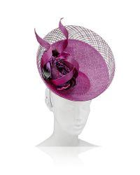 Philip Treacy Purple Flower Disc Hat