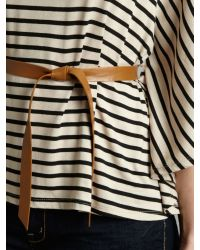 Wal-G Natural Striped Batwing Top With Belt