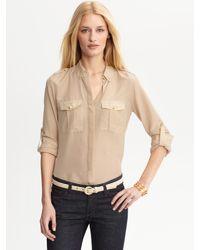 Banana Republic | Beige Heritage Cotton Silk Military Shirt | Lyst
