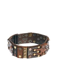 DIESEL | Brown Leather Bracelet for Men | Lyst