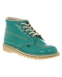 Kickers Blue Kick Hi Womens Turquoise Patent