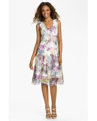 Komarov | Purple Print Ruffle Chiffon Dress | Lyst