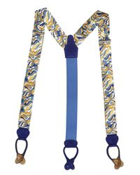 Manuel Vanni Blue Printed Silk and Leather Suspenders for men
