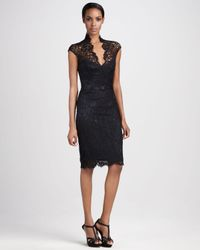 THEIA Black Lace Cocktail Dress