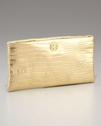 Tory Burch - Metallic Lily Croc-embossed Clutch - Lyst