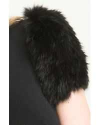 Versus | Black Genuine Rabbit Fur Sleeve Knit Dress | Lyst