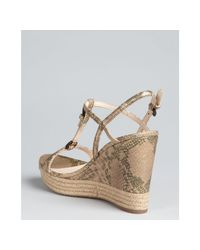Prada - Natural Prada Sport Bronze Snake Embossed Leather Tstrap Wedges - Lyst