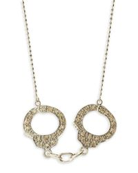 Sydney Evan - Metallic Diamond Handcuff Necklace White Gold - Lyst