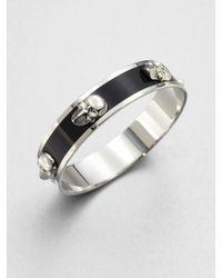 Alexander McQueen | Black 3d Enamel Skull Medium Bangle Bracelet | Lyst