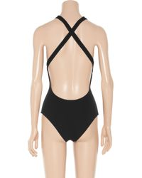 Chloé Black Ruffle Vneck Halter One Piece Swimsuit