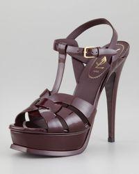 Saint Laurent - Brown Patent Leather Tribute Sandal - Lyst
