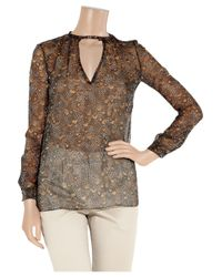 Valentino - Black Feather-print Silk Blouse - Lyst