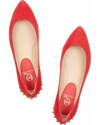 McQ Alexander McQueen | Red Suede Studded Ballet Flats | Lyst