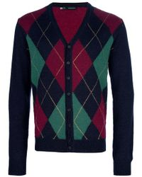 DSquared² Red Diamond Checked Cardigan for men
