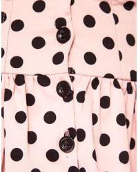 River Island Pink Polka Dot Peplum Bustier