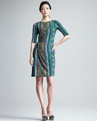 Etro | Green Printed Half Sleeve Jersey Dress | Lyst