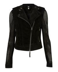 Topshop | Black Suede Perforated Biker Jacket | Lyst