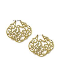 Jessica Simpson | Metallic Gold Tone Motif Lady Chic Drop Earrings | Lyst