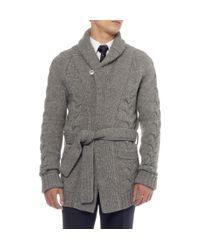 Saint Laurent - Gray Long Chunky Knit Wool Blend Cardigan for Men - Lyst
