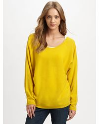 7555cf0e124 Lyst - Vince Cashmere V-Back Sweater in Yellow