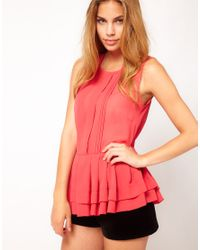 ASOS Collection | Red Asos Sheer Top with Peplum | Lyst