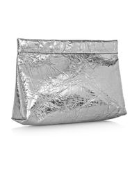 Acne | Silver Oxide Metallic Crinkledleather Pouch | Lyst