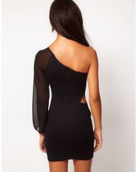 ASOS | Black Exclusive Cut Out Bodycon Dress with Chiffon Sleeve | Lyst