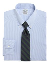 Brooks Brothers Blue Non-iron Milano Fit Houndstooth Dress Shirt for men