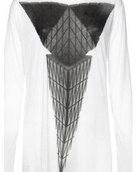 Gareth Pugh White Woven Triangle Tshirt  for men
