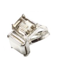 Husam El Odeh | Metallic Stacked Offset Ring Silver | Lyst